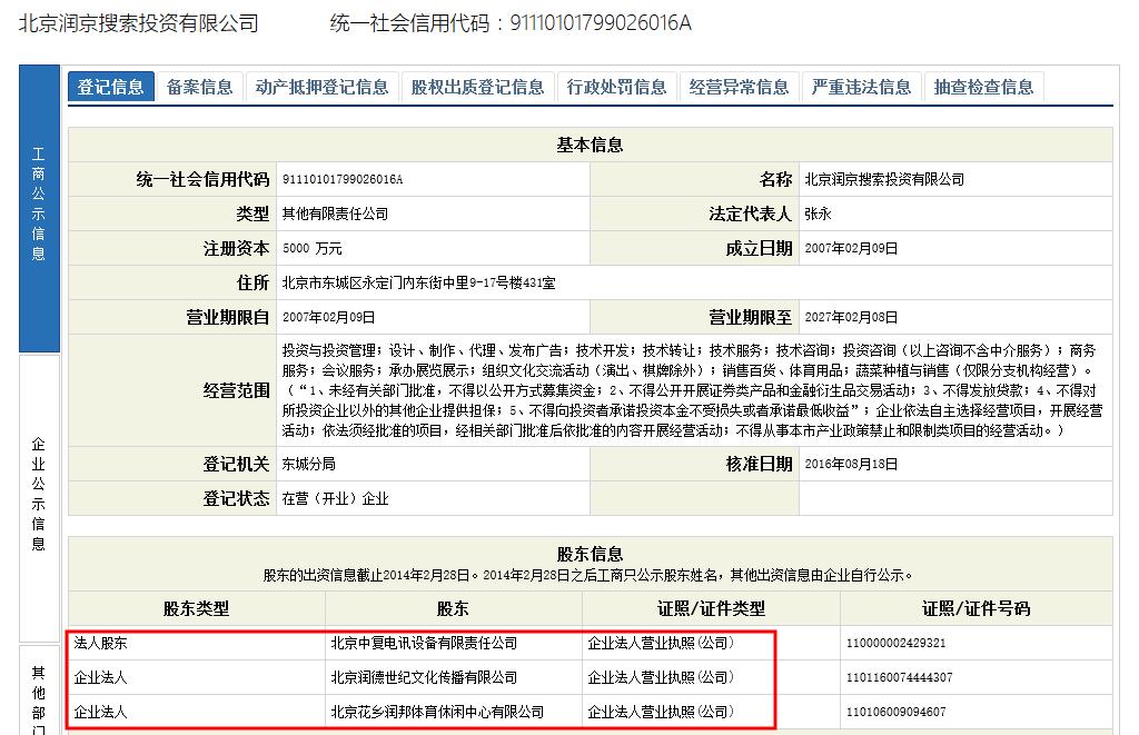 2012年6月27日,北京润京搜索投资有限公司获得人民银行颁发的支付业务许可证,业务类型为预付卡发行与受理,业务范围为北京。