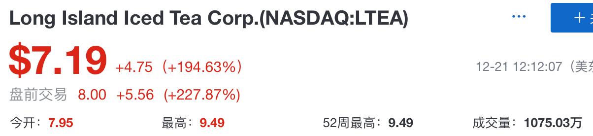 美股长岛冰茶更名为区块链公司盘前交易涨超200%